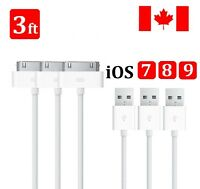 3x 3FT 1M USB 30 Pin Data Sync Charging Cable Charger Cord Dock For iPhone 4 4S