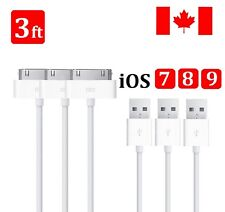 3x 1M USB 30 Pin Data Sync Charging Cable Charger Cord For iPhone 4 iPhone 3G 3S
