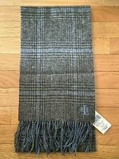"NWT LAUREN Ralph Lauren Winter Scarf 100% Wool Blue / Grey Checks 70"" x 9"""