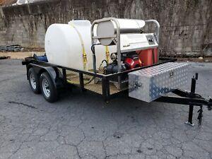 Hot Water Pressure Washer Trailer Mounted-8gpm,4000psi-Honda GX690