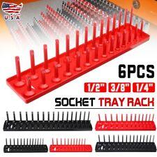 "6x Socket Tray Rack Storage Organizer Holder Tool Metric SAE 1/4"" 3/8"" 1/2"" RED"