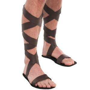 Roman Greek Gladiator Sandals Adult Men Costume Accessory, One Size