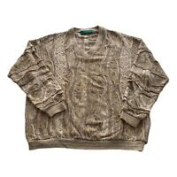 VTG 90s Tundra Tan Coogi 3D Textured Cosby Biggie V Neck Sweater Men's XXL