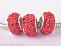 10pcs 12x9mm Rhinestone Silver Plated European Findings Loose Big Hole Beads Red