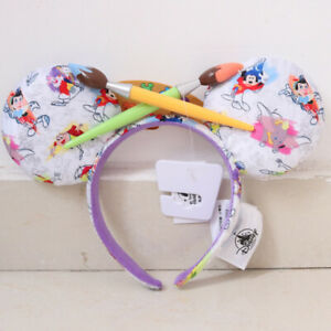Disney 2020 Minnie Mouse INK & PAINT Collection Ears Headband With Paintbrush Bo
