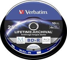 10 Verbatim Rohlinge M-Disc Blu-ray BD-R full printable 25GB 4x Spindel