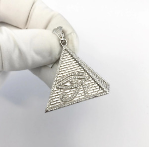 Sterling Silver All Seeing Eye Pyramid Pendant set with Cubic Zirconia***
