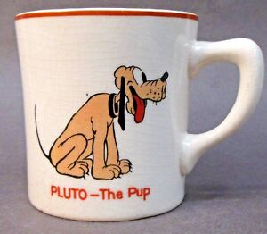 PLUTO THE PUP and Small MICKEY 1930's Patriot China coffee mug Disney *