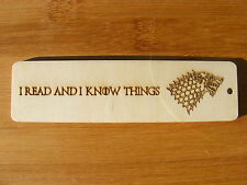 BOOKMARK GAME OF THRONES WOODEN DIRE WOLF STARK ENGRAVED WOOD BIRTHDAY GIFT IDEA