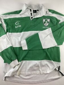 LFR Ireland Live For Rugby Green White Striped National Jersey Shirt Mens Medium