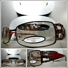 CONTEMPORARY MODERN Style SUN GLASSES Clear Lens Slight Mirror Tint Brown Frame