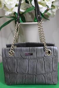 Kate Spade ELENA MADRIS Croc Patent Leather Graphite Gray Chain Purse (P200)