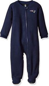 New England Patriots NFL Infant/Baby Boys Zip-up Blanket Sleeper Pajamas: 3/6 M