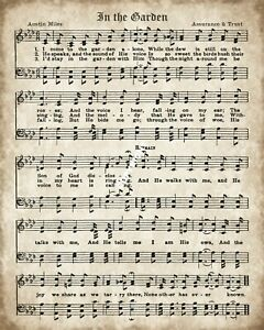 I COME TO THE GARDEN GOSPEL CHRISTIAN HYMN WORDS & MUSIC METAL PLAQUE SIGN R126