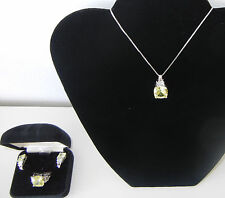 NICE Sterling Silver With  Peridot Stones Necklace, Ring (6 1/2) & Earrings Set