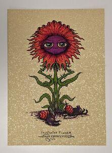 Marq Spusta Frustrated Flower Gold Sparkle SIGNED Art Print Mini Silkscreen MINT