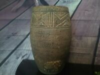 Large signed handcrafted in Ghana earthenware vase  with relief elephants design