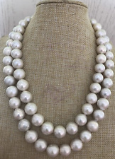 gorgeous  huge 13-15mm south sea baroque  white  pearl necklace 38inch