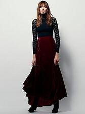 New Free People Women's Curtain Call Burgundy Velvet Maxi Skirt size 6