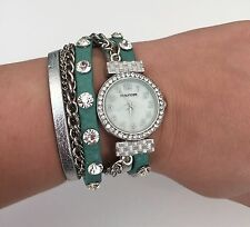 Maurices Wrap Style Bracelet Watch Rhinestones And Chains - Mint Green & Silver