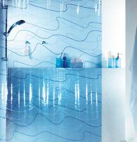 Pool Blue Blau Duschvorhang 180 x 200cm. Vinyl Hochwertig Markenprodukt Schweiz