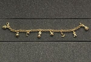 9ct Yellow Gold 7.5 Inch 8 Charm Belcher Bracelet