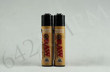 "2 pcs New Refillable Clipper Mini Size(2.5"") Lighters Raw Design"