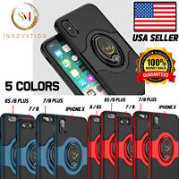 Shockproof Leather Case with 360 Magnet Ring Stand Cover For iPhone X 6 7 8 Plus