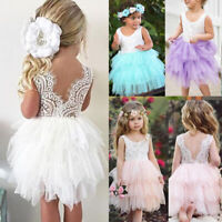 Toddler Kids Baby Girls Lace Tulle Tutu Dress Wedding Bridesmaid Party Pageant
