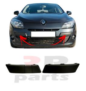Para Renault Megane 2008-2011 Nuevo Parachoques Delantero Moldura Negro Par Set