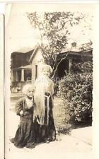 ID'd Lugg Cute Little Girls Play Dress Up In Granny Clothing Shawl Vintage Photo