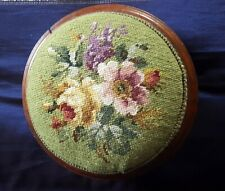 More details for antique victorian mahogany tapestry foot stool with bun feet