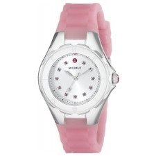 Michele Tahitian Jelly Bean Pink Rubber Watch MWW12P000008 Topaz Markers
