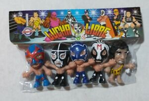 "Wrestling 3"" set of 5 figures, Lucha Libre Luchadores Cabezones (4)"