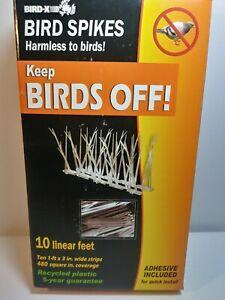 Bird-X Plastic Polycarbonate BIRD SPIKES KIT with Adhesive Glue - Covers 10 Feet