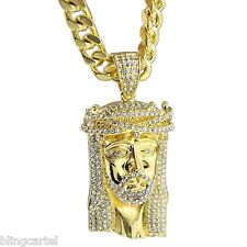 "Jesus Piece Pendant Face Head 30"" Cuban Heavy Chain Gold Tone Hip Hop Necklace"
