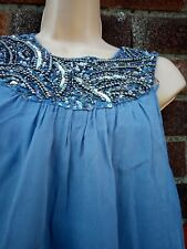 Zara Bubble tunic mini dress Top Xl 14 blue sequins beads evening party occasion