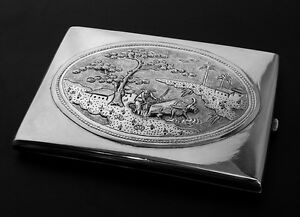 Antique Hand Tooled Asian Sterling SILVER CIGARETTE CASE Box Wallet Purse