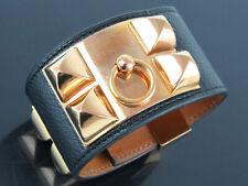 Authentic HERMES Collier de chien Black Leather x Goldtone Wide Bracelet Bangle