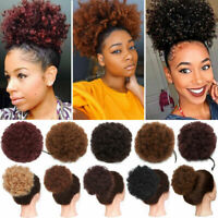 Afro Puff Drawstring Ponytail Kinky Curly Synthetic Hair Chignon Bun Extensions#
