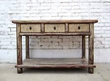 CINA PICCOLO CONSOLLE Armadio tavolo scrivania legno pino bianco antico