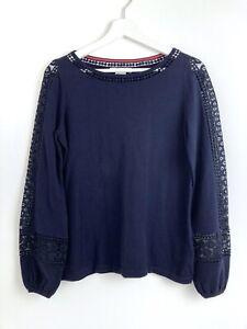 Boden Womens NWOT Navy Blue Long Sleeve Cotton Crochet Arm Jumper Size 10