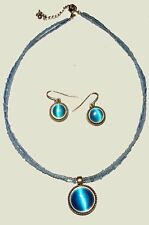 Peacock Blue Tiger's Eye Pendant Necklace & Earrings Set  Blue Glass Beads 16-18