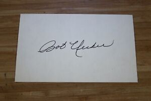 "BOB UECKER BRAVES BREWERS AUTOGRAPH ON 3"" X 5"" NOTE CARD"
