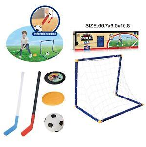 Children Kids Plastic Ice Hockey Stick Football Goal Net Outdoor Game Toy Set UK
