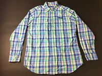 Southern Tide Mens Green Blue Plaid Front Pocket Button Front Shirt Size Medium