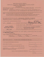 SIGNED 1969 BILLY WILDER DIRECTORS GUILD CONTRACT