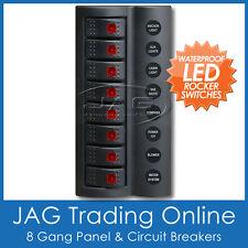 8 GANG DELUXE LED ROCKER SWITCH PANEL & CIRCUIT BREAKERS-BOAT/MARINE/CARAVAN/4x4