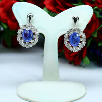 NATURAL 6 X 8 mm OVAL BLUE TANZANITE & WHITE CZ EARRIGNS 925 STERLING SILVER