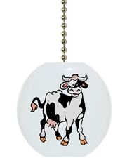 Cow Farm Animal Country Solid CERAMIC Ceiling Fan Light Lamp Pull